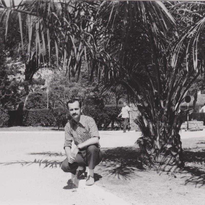 Auto-retrato com palmeira